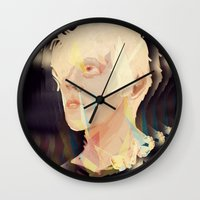 polygon Wall Clocks featuring Albino Polygon by MousMuse