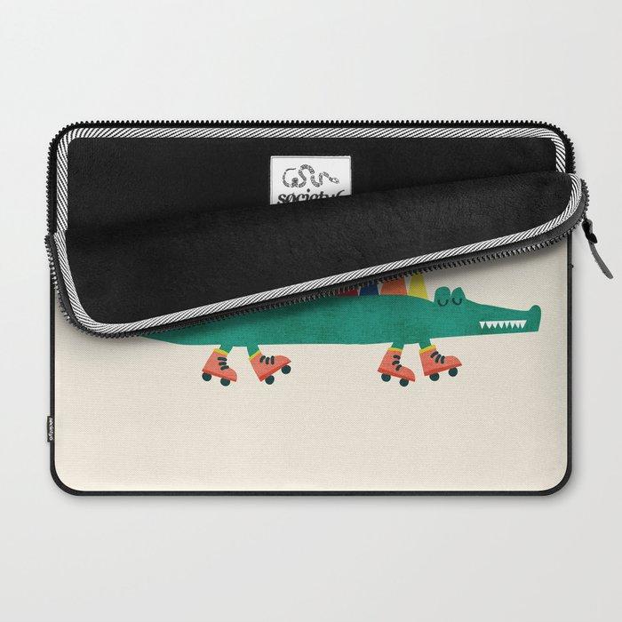 Crocodile on Roller Skates Laptop Sleeve