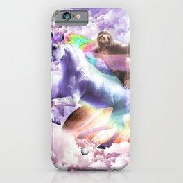 Epic Space Sloth Riding On Unicorn iPhone Case