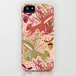 Squirrel in Woodland Fern Forest , Cute Squirrels Love hidden among the Acorn Nuts & Plants iPhone Case