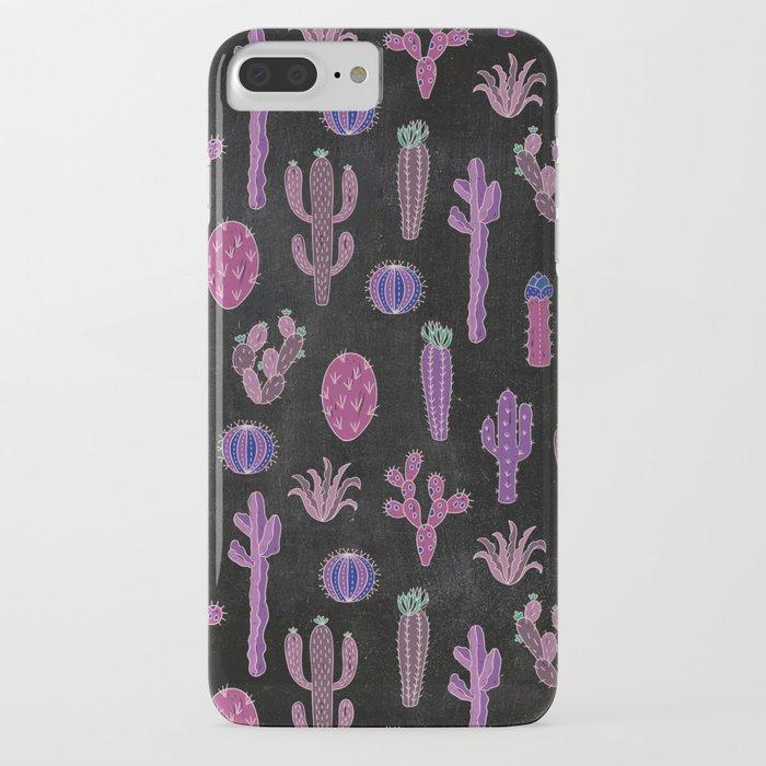 Cactus Pattern On Chalkboard iPhone Case