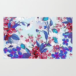 Cool blue floral garland texture Rug