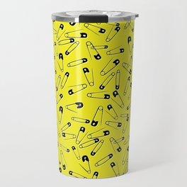 Yellow safety pins, punk rock pattern, rocker pattern, anarchy, 70s Travel Mug