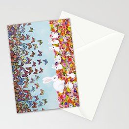 bunnies, flowers, and butterflies Stationery Cards