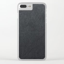 Bright Black Leather Clear iPhone Case