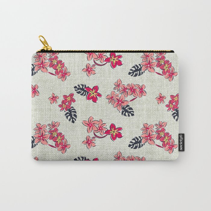 Frangipani Pink Punch Carry-All Pouch
