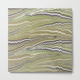 Electrified Ripples Olive Green Metal Print