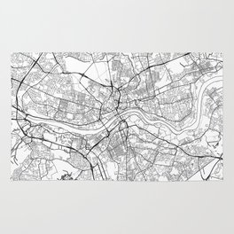 Newcastle Upon Tyne Map White Rug
