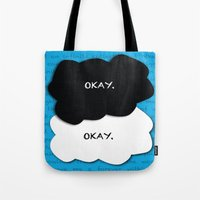 fault Tote Bags featuring the fault in our stars by lizbee