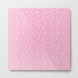 Festive Sweet Lilac Pink and White Christmas Holiday Snowflakes Metal Print