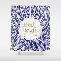 treat yo self Shower Curtains featuring Treat Yo Self – Gold & Navy by Cat Coquillette
