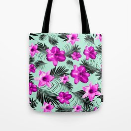 Tropical Flowers Palm Leaves Finesse #9 #tropical #decor #art #society6 Tote Bag