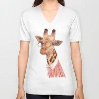 giraffe V-neck T-shirts featuring Giraffe by Animal Crew