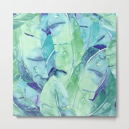 Banana Tree Leaves | Tropical  BLUE Watercolor Metal Print
