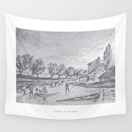Skaters on fen drain Wall Tapestry