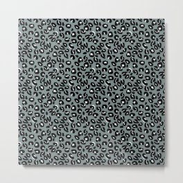 Grey and Black Leopard Spots Animal Print Pattern Metal Print