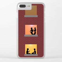 Multi Storey Apartment Windows at Night Clear iPhone Case