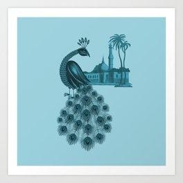 Blue peacock oriental dream Art Print