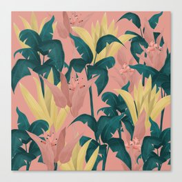 Tropical Plants Pink Background Canvas Print