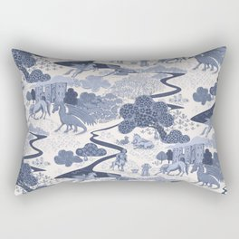 Mythical Creatures Toile -Ivory and Dark Blue Rectangular Pillow