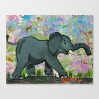 baby elephant Canvas Prints featuring Baby Elephant by gretzky