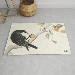 Koson Ohara - Crow with Kaki Fruit - Japanese Vintage Ukiyo-e Woodblock Painting Rug