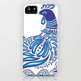 Abstract gzhel bird with ornament iPhone Case