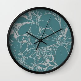 Umbrella Plant In Aqua Wall Clock