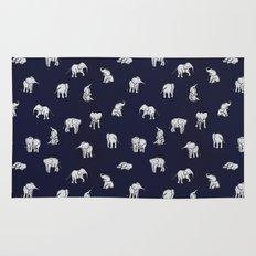 Indian Baby Elephants in Navy Rug