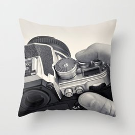 Retro SLR camera in hands photographer Throw Pillow