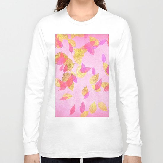 Autumn-world 5 - gold glitter leaves on pink background on #Society6 Long Sleeve T-shirt