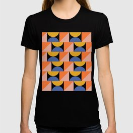Retro Summer Beach Colors and Shapes in Blue, Orange, and Yellow T-shirt