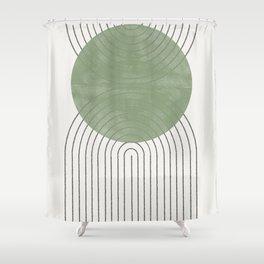 Green Moon Shape Shower Curtain