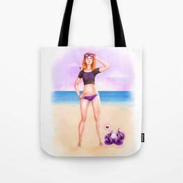 Purple Espiral Beach Tote Bag