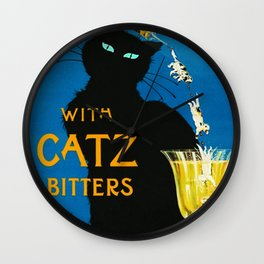 Mix Your Drinks with Catz (Cats) Bitters Aperitif Liquor Vintage Advertising Poster Wall Clock