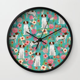 Brittany Spaniel florals pattern dog gifts for dog lovers cute puppies pet portrait Wall Clock