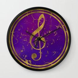 Golden Grunge  Musical Treble Clef  on purple Wall Clock