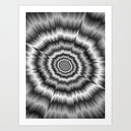 Explosion in Black and White Art Print