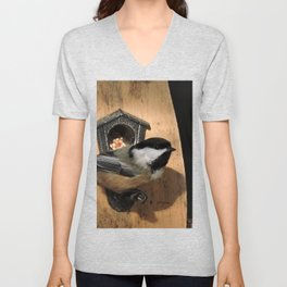 Black-Capped Chickadee at the Feeder Unisex V-Neck
