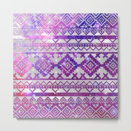 Aztec Tribal Diamond Pattern Pink Nebula Galaxy Space Metal Print