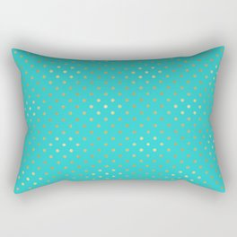 Gold Turquoise Mint Dots Rectangular Pillow