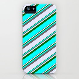 Dim Gray, Lavender, Dark Green, and Cyan Colored Lined/Striped Pattern iPhone Case