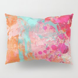 Paint Splatter Turquoise Orange And Pink Pillow Sham