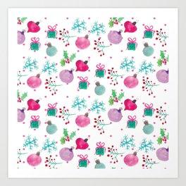 Christmas Watercolor Ornament Snowflake Mix Art Print