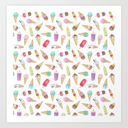 Scattered Ice Creams and Ice Lollies Art Print