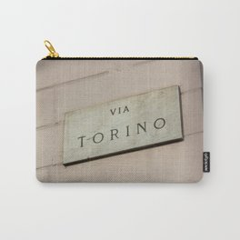 Via Torino signboard in the center of Milan Carry-All Pouch
