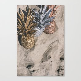 GOLD AND SILVER PINEAPPLES IN THE SAND Canvas Print