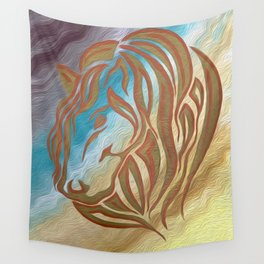 Copper & Old Gold Abstract Mare Wall Tapestry