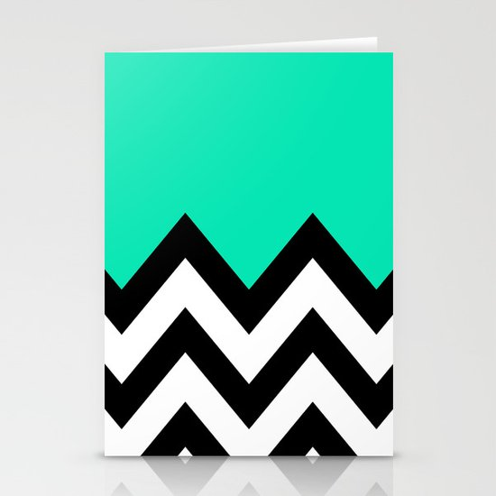 TEAL COLORBLOCK CHEVRON Stationery Cards