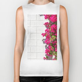 Bougainvilleas and White Brick Wall in Palm Springs, California Biker Tank